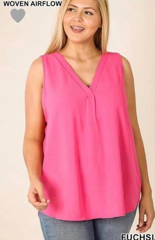 Pink Curvy Plus V Neck Top