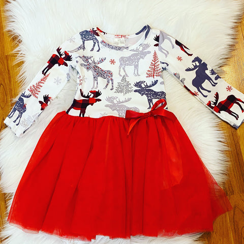 Red and Grey Moose Tutu Dress