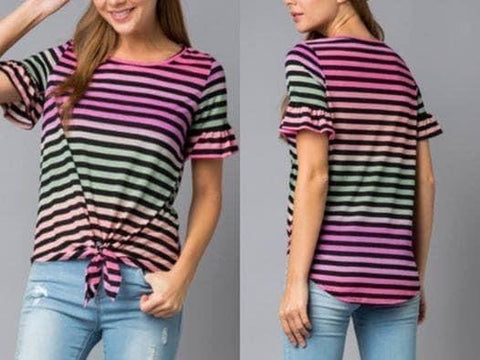 Pink Multi Striped Top w/Front Tie