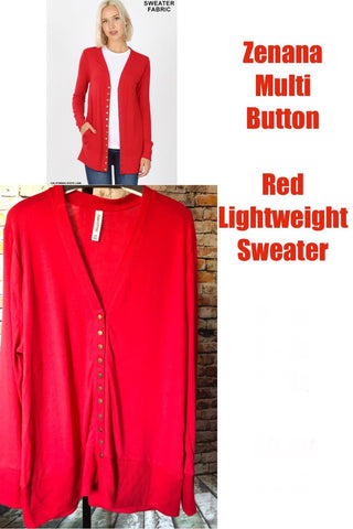 Red Curvy Plus Snap Button Cardigan Sweater
