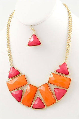 Orange Acrylic Bib Necklace Set