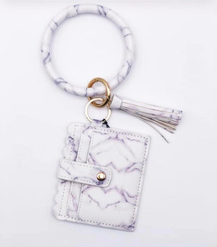 White Marble Wristlet Bangle Keychain
