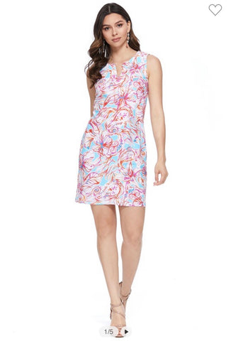 Pink Floral Sleeveless Sheath Dress