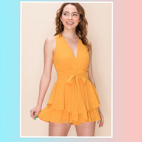Melon Double Ruffle V Neck Romper
