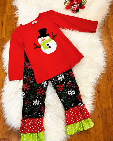 Red Snowman Top w/Matching Snowflake Ruffle Pants