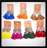 Medallion Tassel Fringe Earrings