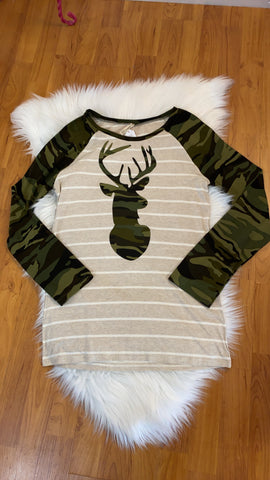 Green Deer Camo and Oatmeal Striped Top
