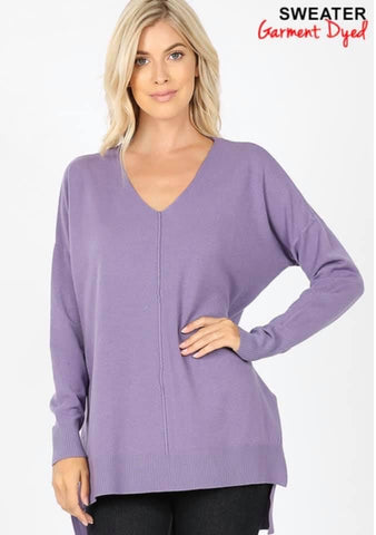 Lavender V Neck Ribbed Hem Sweater