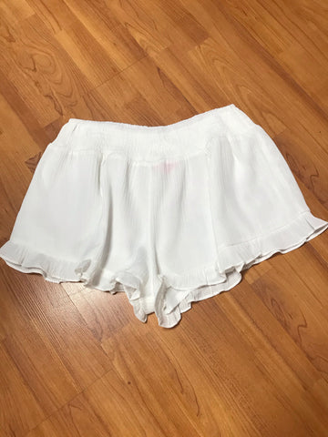 White Rayon Shorts w/Smocked Waist