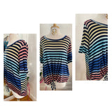 Navy Rainbow Stripe Curvy Plus Hi-Low Front Tie Top