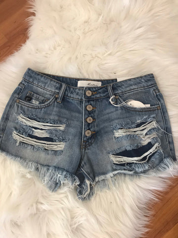 KanCan Light Blue Denim Distressed Shorts