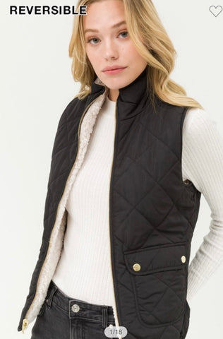 Black Reversible Quilted Sleeveless Padded Vest