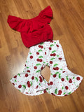 Red Cherry Girls 2pc Boutique Outfit