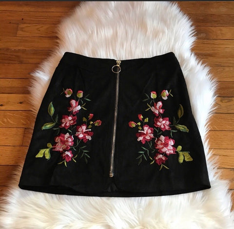 Skirt - Black Suede Embroidered Skirt