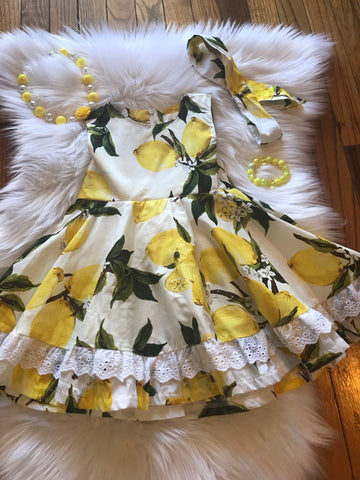 Yellow & White Sleeveless Lemon Dress