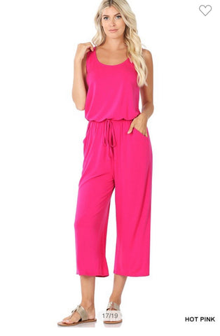Hot Pink Sleeveless Capri Jumpsuit w/Pockets