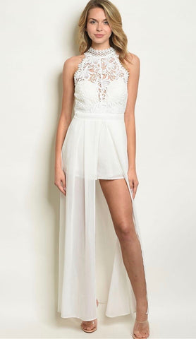 White Lace Halter Walk Thru Maxi