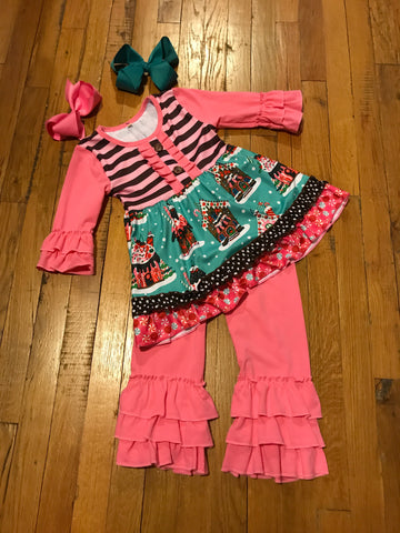 Pink 2pc Christmas Outfit