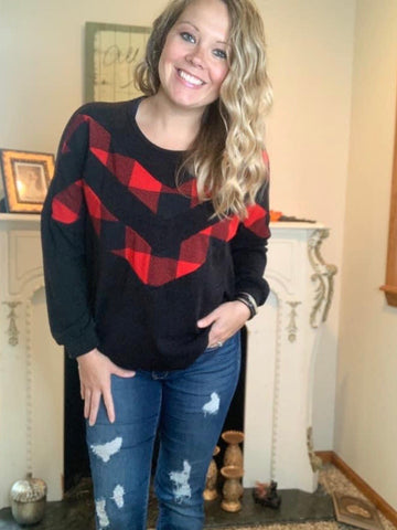 Black and Red Buffalo Plaid Top