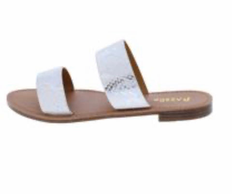 White Snake Dual Strap Open Toe Slide On Sandal