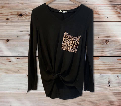Black LS Leopard Pocket Top