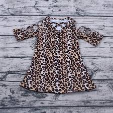 Black & Brown Leopard Dress with Criss Cross Neck and Sleeves