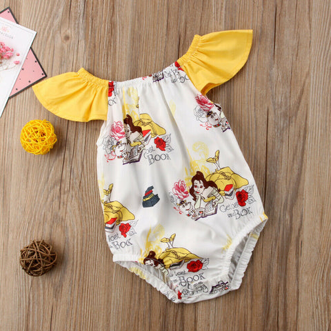 Yellow & White Girls Beauty and the Beast Romper