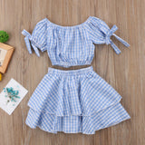 Blue Checkered Girls 2pc Crop Top Outfit