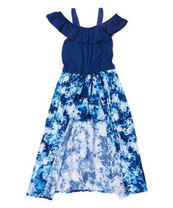 Navy Girls Floral Cold Shoulder Maxi Dress