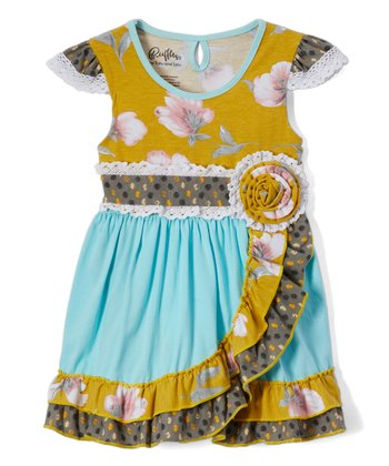 Gold & Blue Matilda Jane Inspired Dress with Ruffles