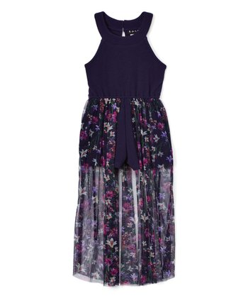 Navy Girls Floral Halter Walk Through Maxi Dress