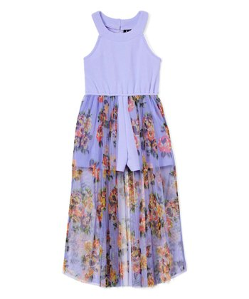 Lavender Girls Floral Walk Through Halter Maxi Romper/Dress