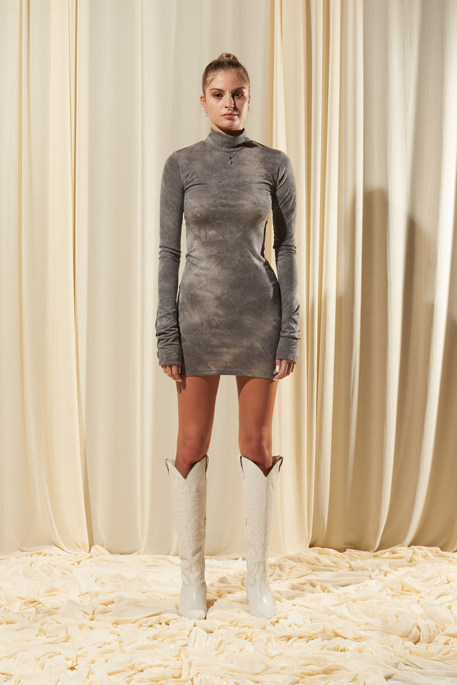 GREY HIGH NECK FITTED DRESS (IN STOCK)