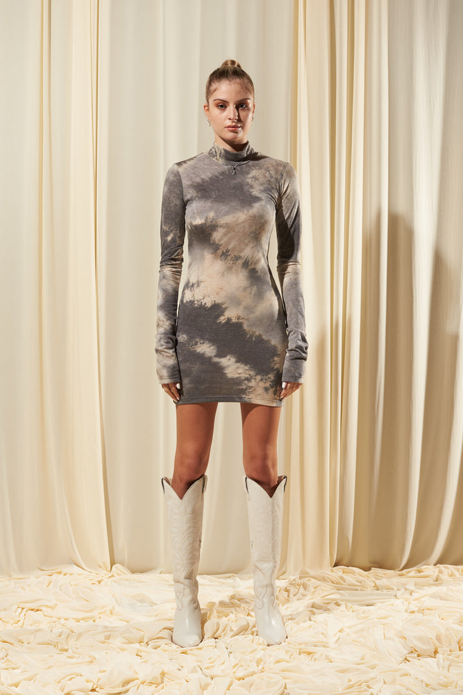 EARTH GREY HIGH NECK FITTED DRESS (IN STOCK)