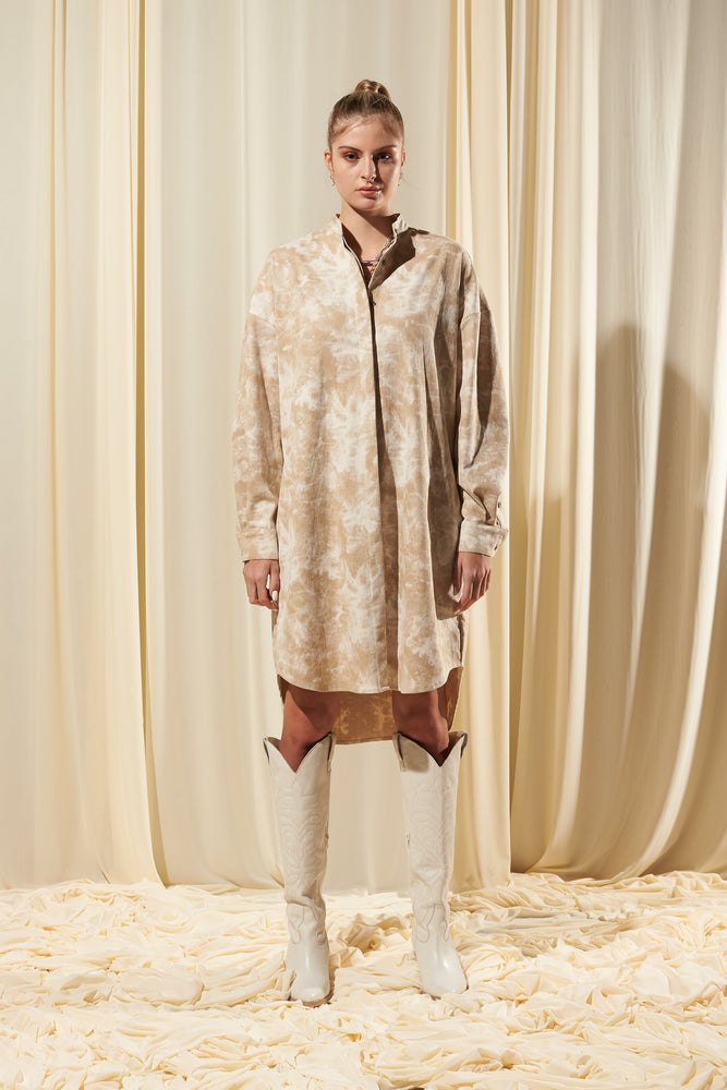 STONE WASH OVERSIZED SHIRT DRESS (IN STOCK)