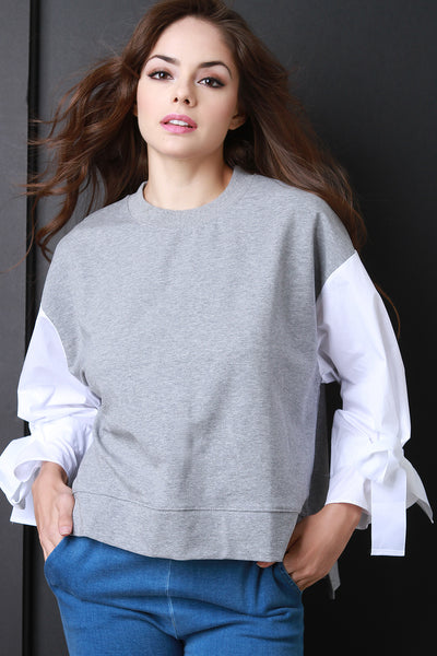 Contrast Tie Sleeves French Terry Sweatshirt