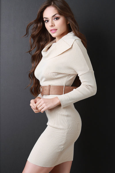 Cowl Neck Long Sleeves Belted Sweater Dress
