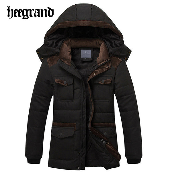 HEE GRAND 2017 Winter Men's Warm Coat Long Sleeve Hooded Cotton Parka High Quality Solid Color Jacket Coats MWM1448