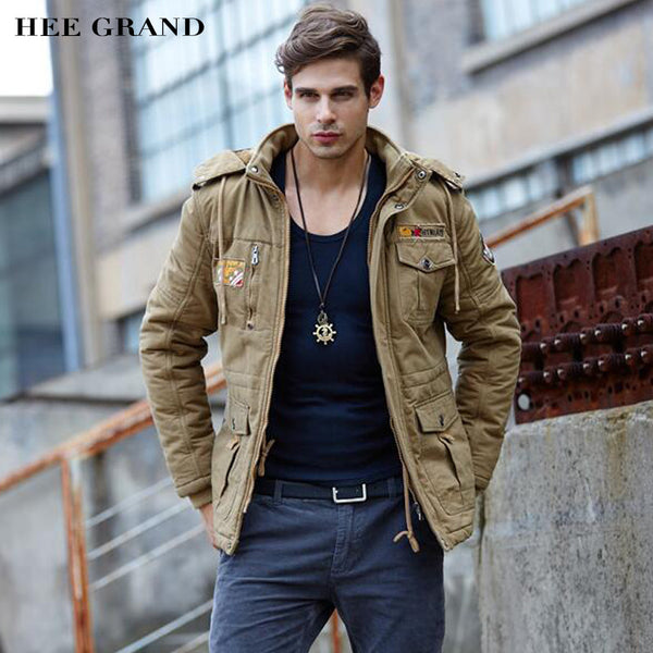 HEE GRAND Men Fashion Thick Parkas Stand Collar Autumn Windproof Plus velvet Stylish Whole Cotton Material Coat 3 Colors MWM1357