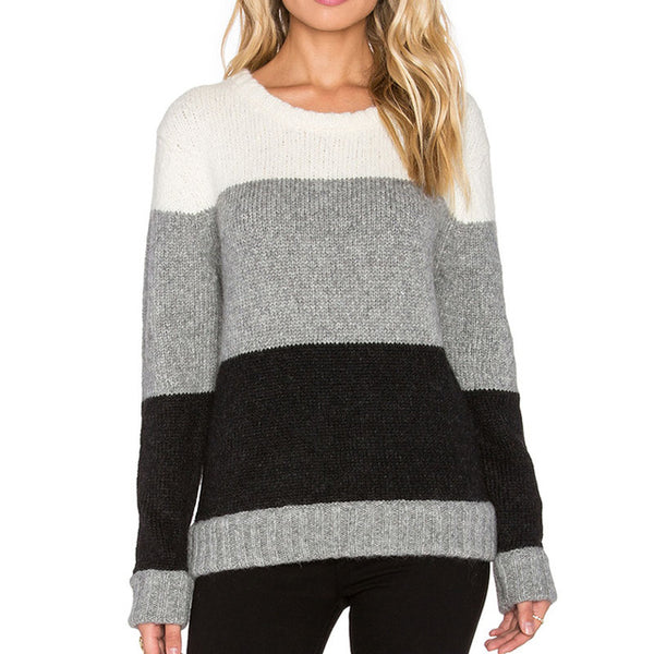 Winter Crew Neck Long Sleeve Striped Pullover