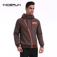INCERUN 2017 Autumn Winter Thick Warm Velvet Jackets Hoodies Zipper Hooded Men's Casual Fleece Lined Sweatshirt Hoody Cardigans