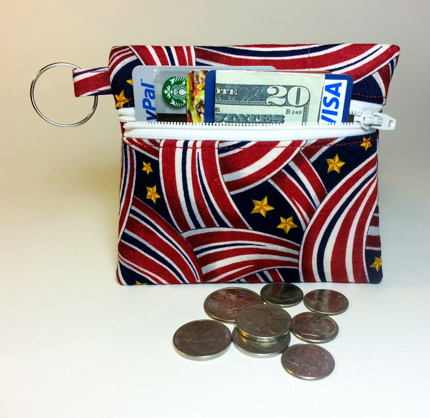 Coin Purse, Change Purse, Business Card Holder, Key Chain - Red ...