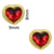 Gold Framed Red Heart Nail Charm (2pcs)