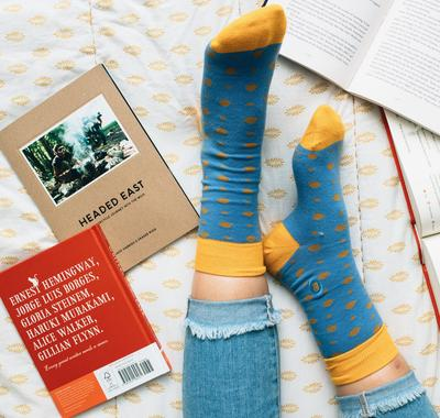 Socks That Give Books - Light Blue - (mens/women sizes) - Samana Living