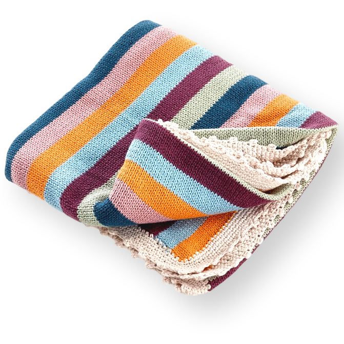 Blanket - Organic - Multi Stripe - Samana Living