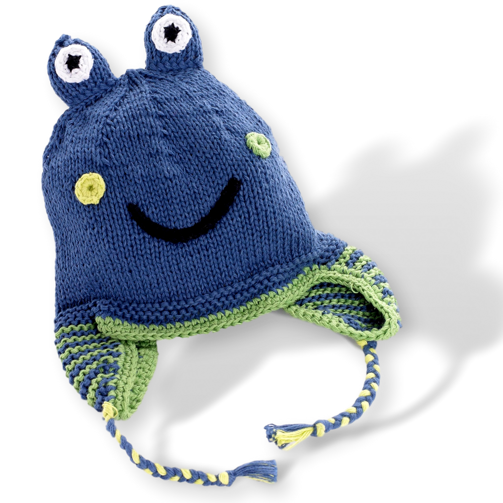 Motif Hat with earflaps -  frog -  deep blue - Samana Living
