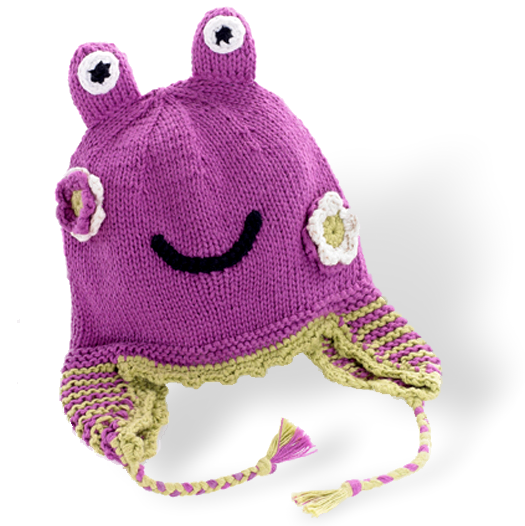 Motif Hat with earflaps -  frog -  mulberry - Samana Living