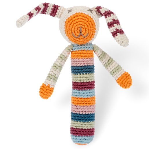 Stick rattle – bunny multi stripe - Organic - Samana Living