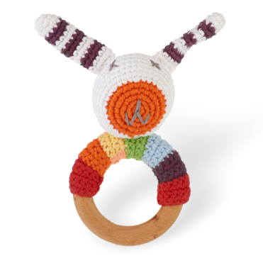 Wooden Ring Rattle - Multi Bunny
