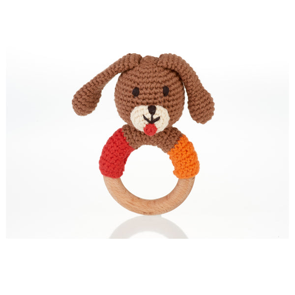 Wooden Ring Rattle - Dog - Samana Living